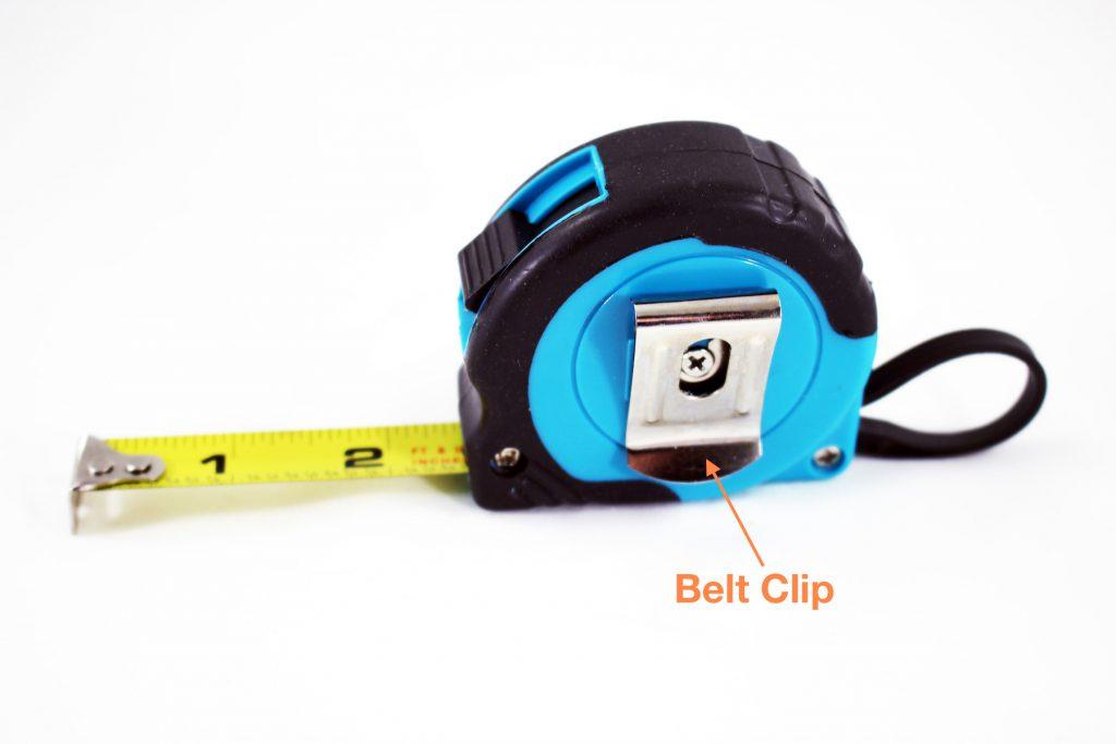 Tape measure back showing clip